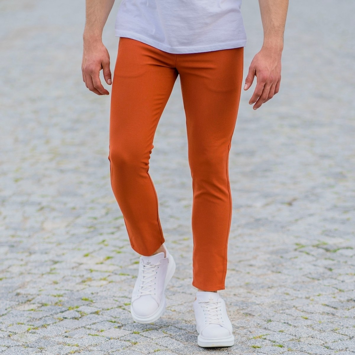 Orange Slim-Fit Trousers