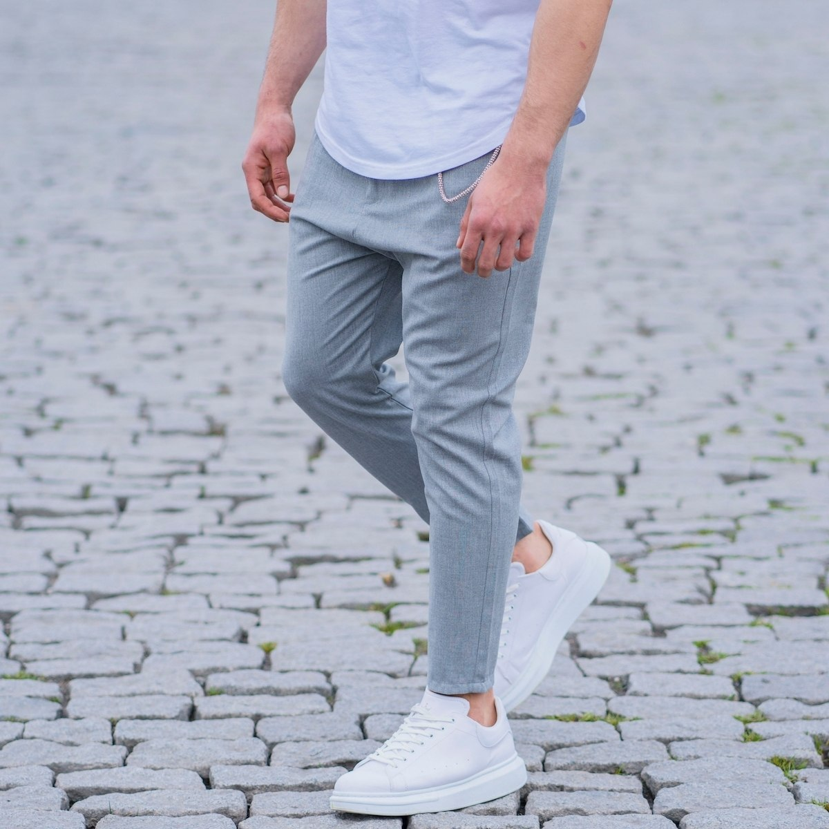 Gray Casual Slim-Fit Trousers