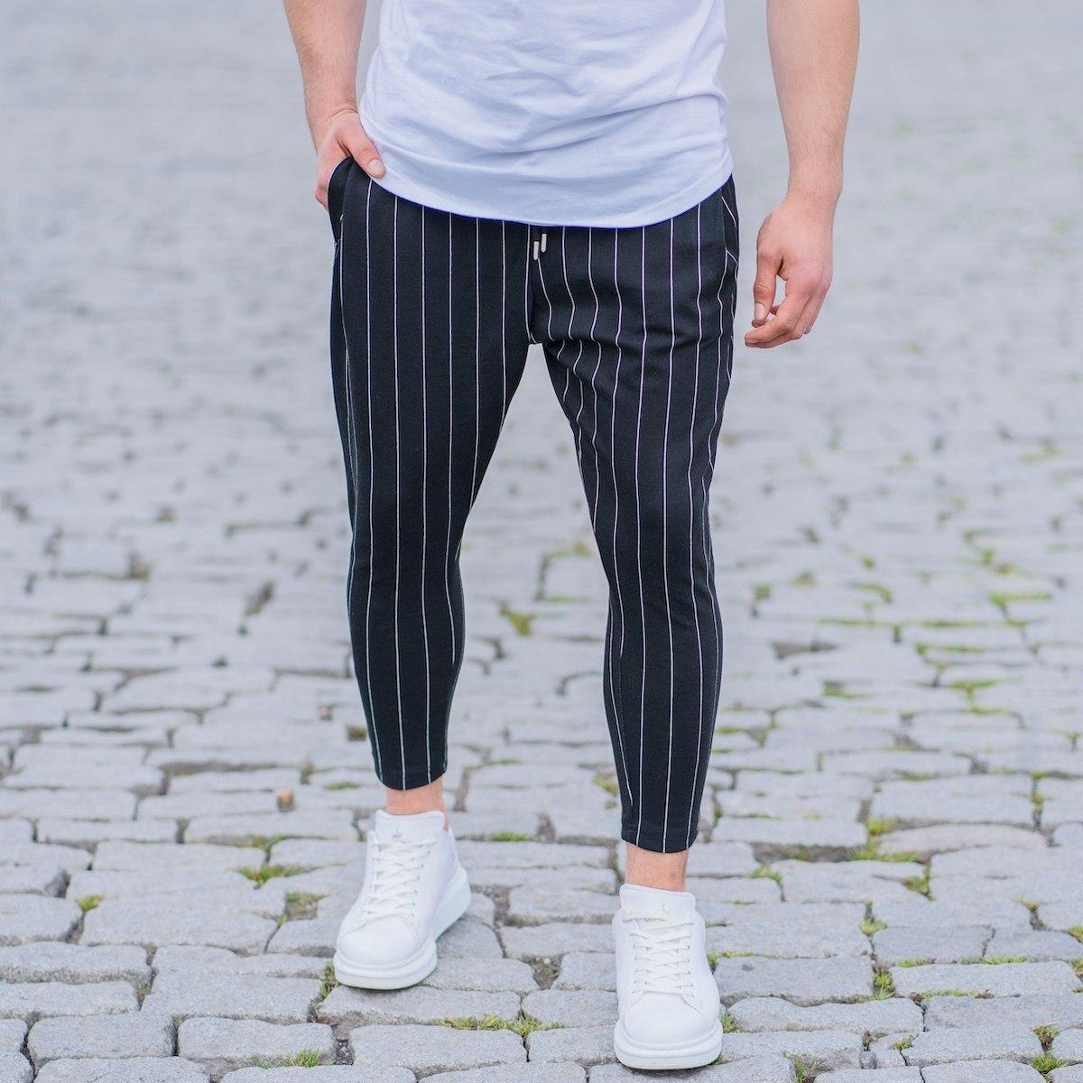 Men's Narrow Striped Shalvar In Black