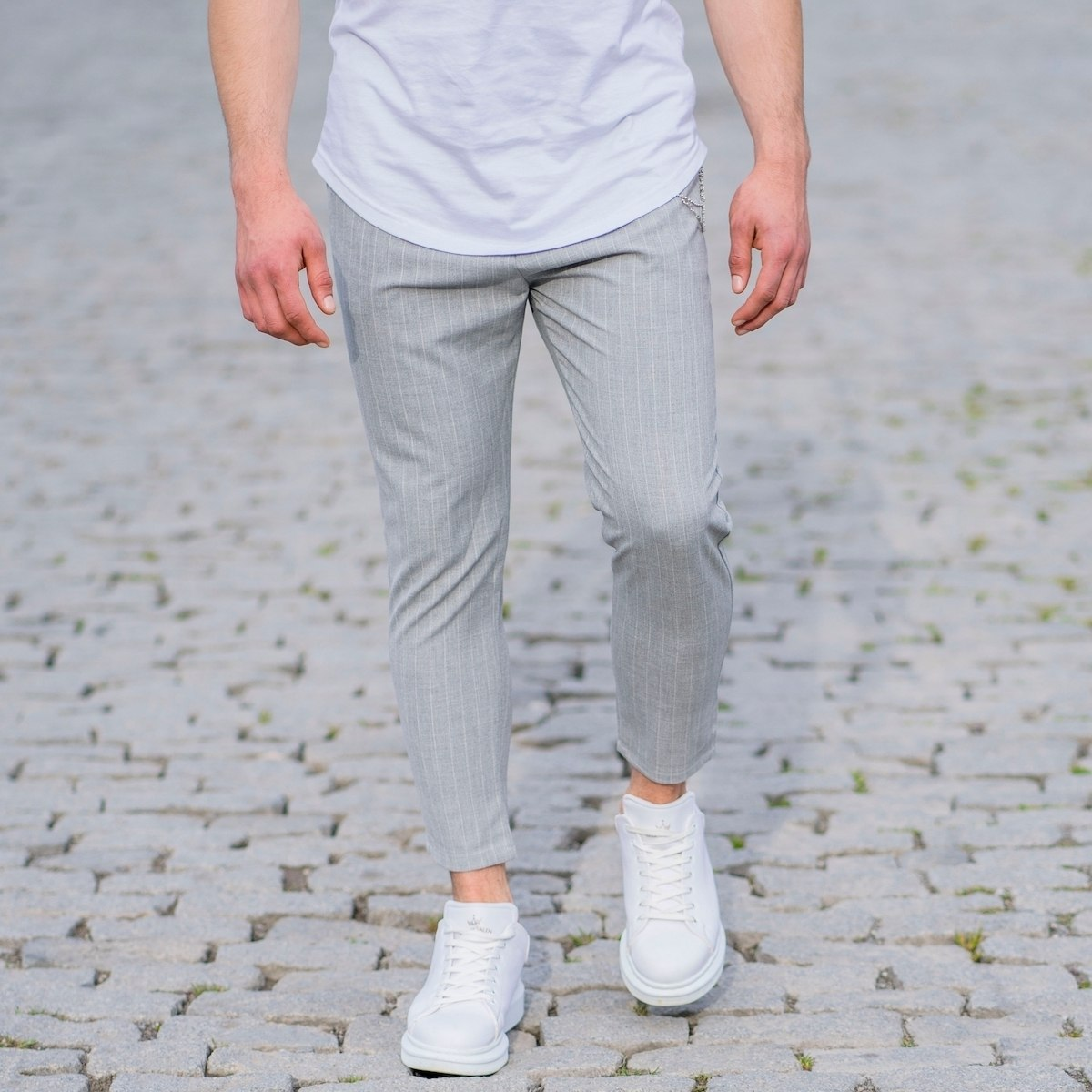Stone Gray Trousers With...