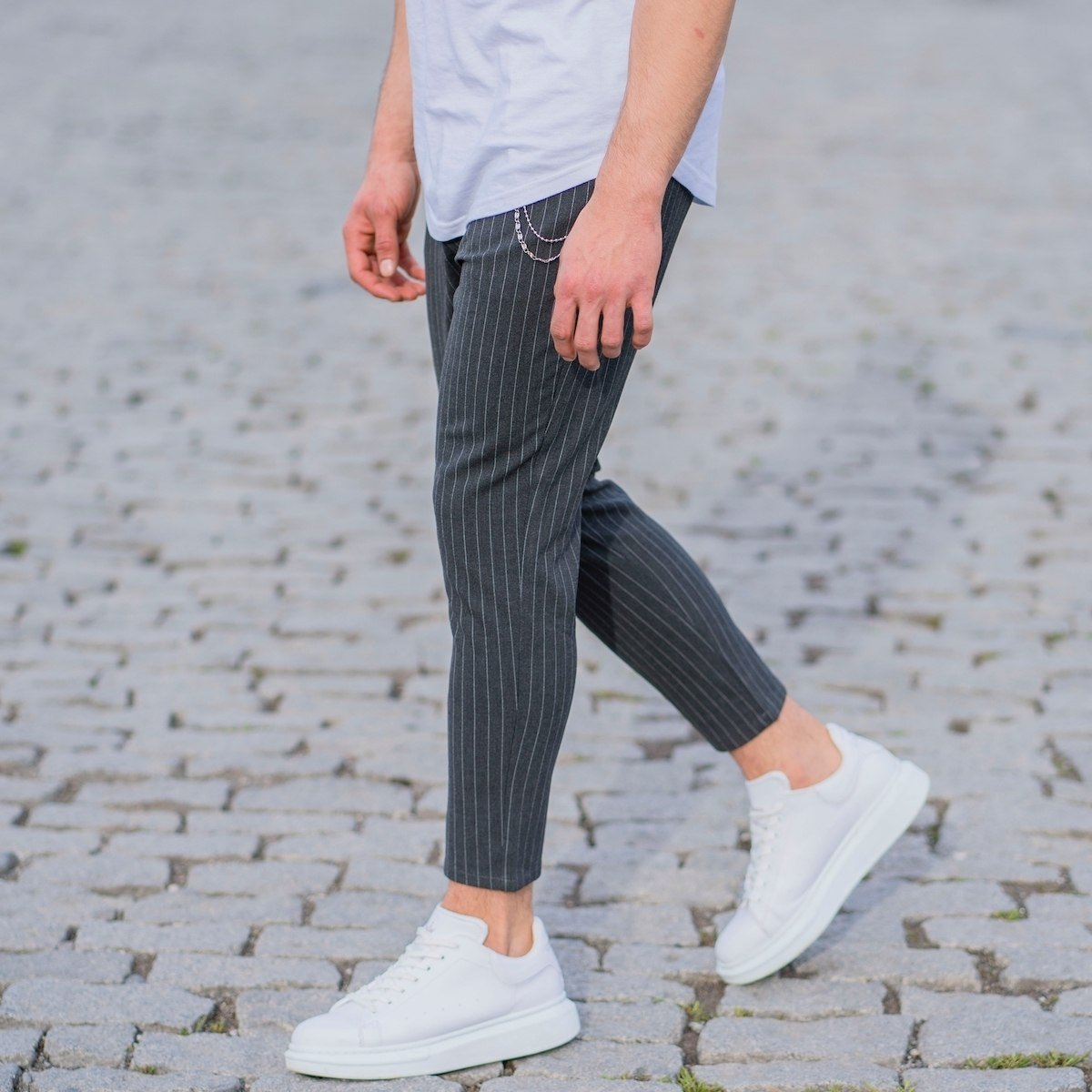 Gray Trousers With White...