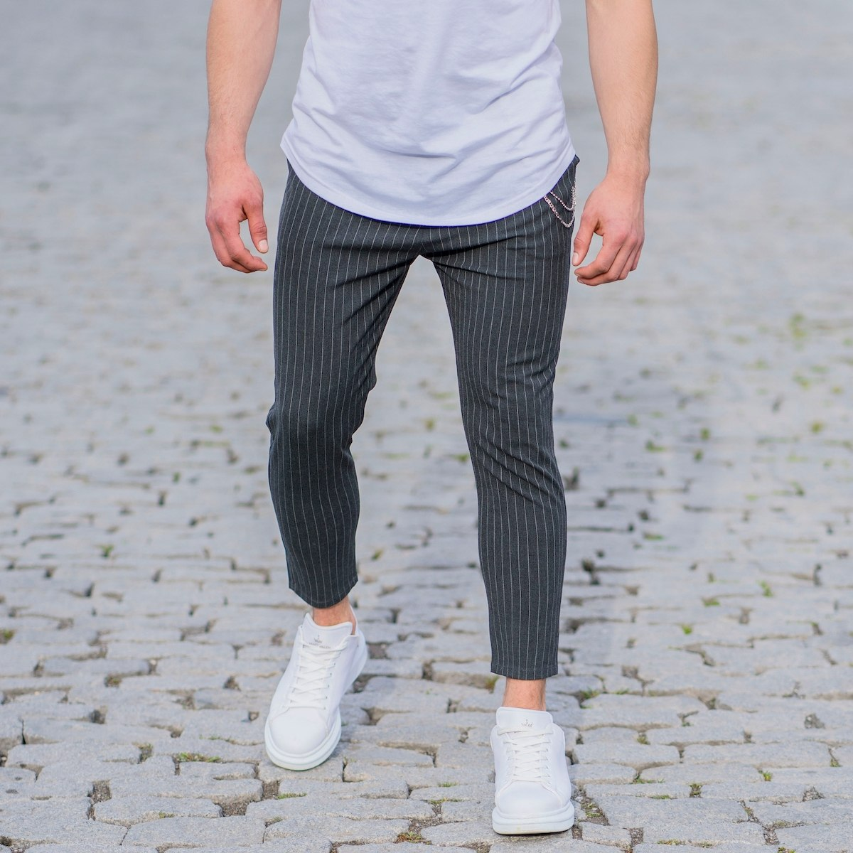 Gray Trousers With White Stripes and Chain