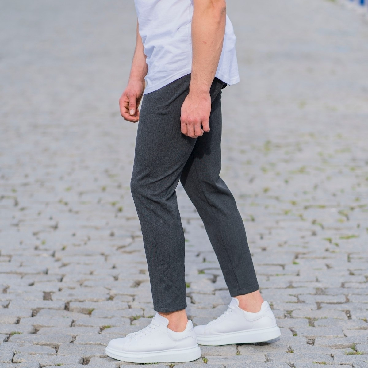 Gray Slim-Fit Trousers