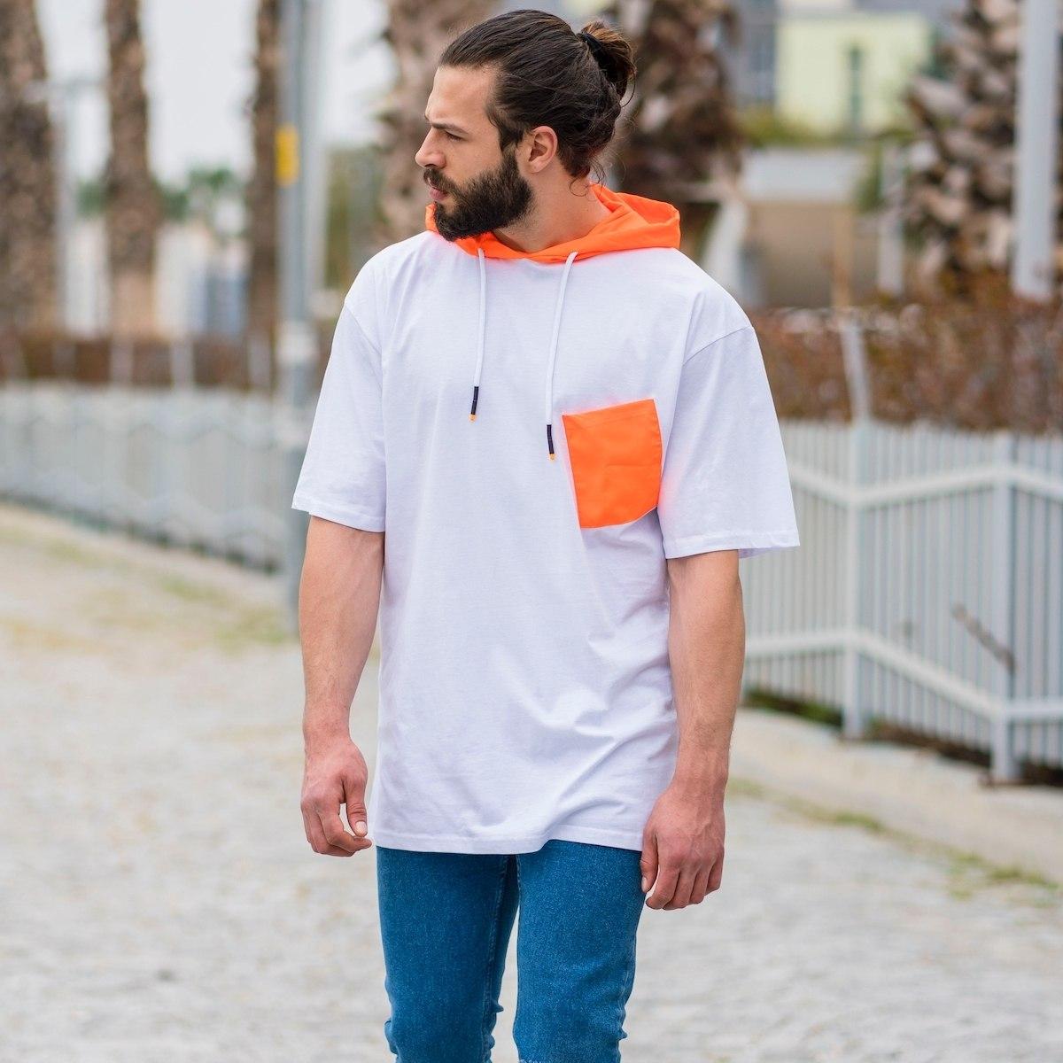 Men's Hallf-Sleeved Hoodie With Rainproof Hood In White