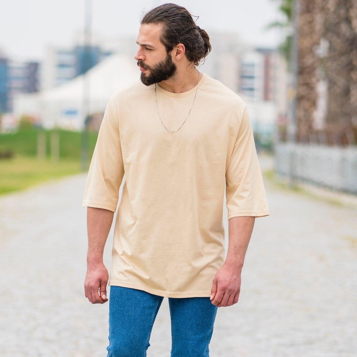 Men's Oversize Basic T-Shirt In Beige
