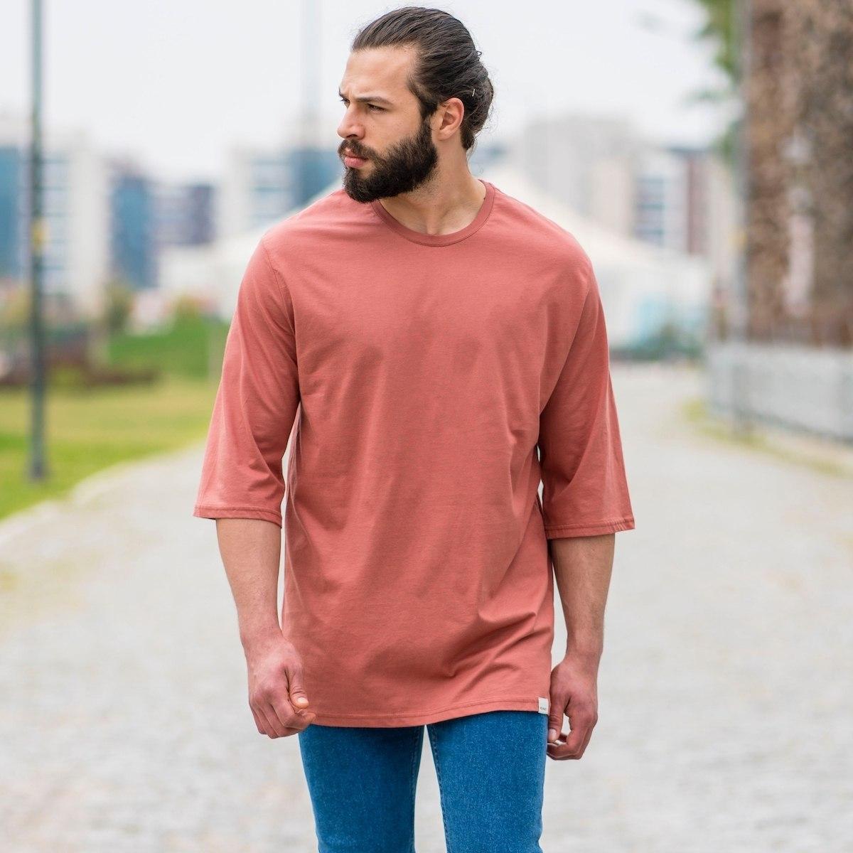 Men's Oversize Basic T-Shirt In Salmon