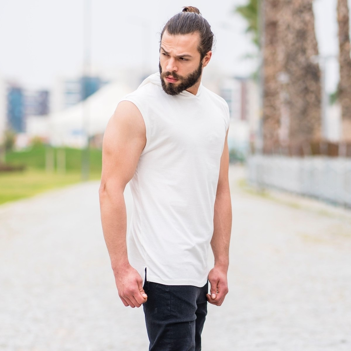 Men's Sleeveless Hoodie In...