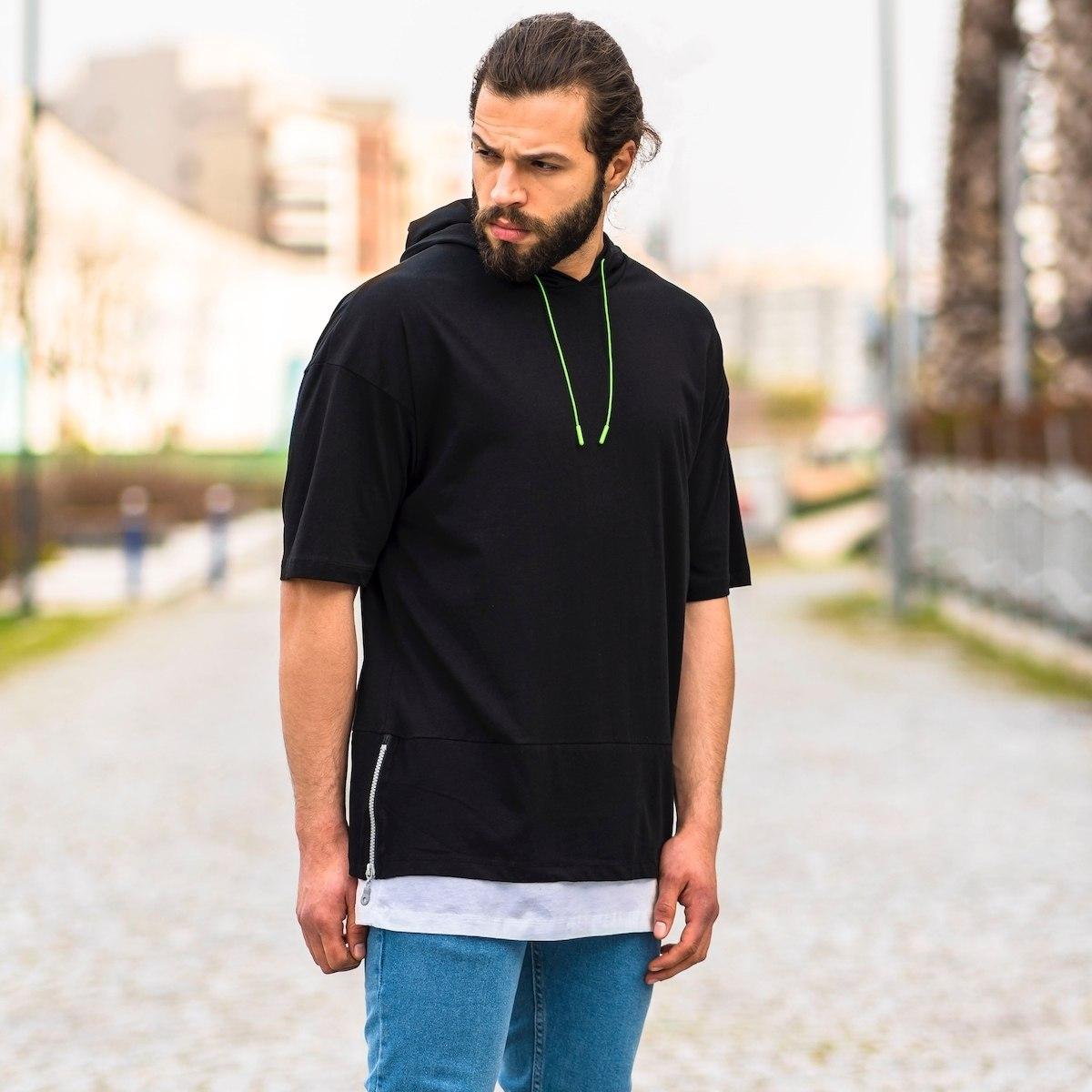 Men's Double Tailed Oversize Half-Sleeve Hoodie In Black