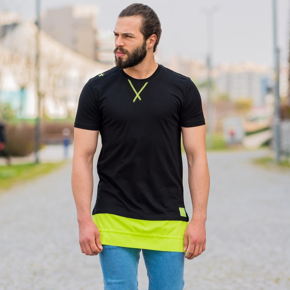 Men's Double-Tailed Neon Oversize T-Shirt In Black