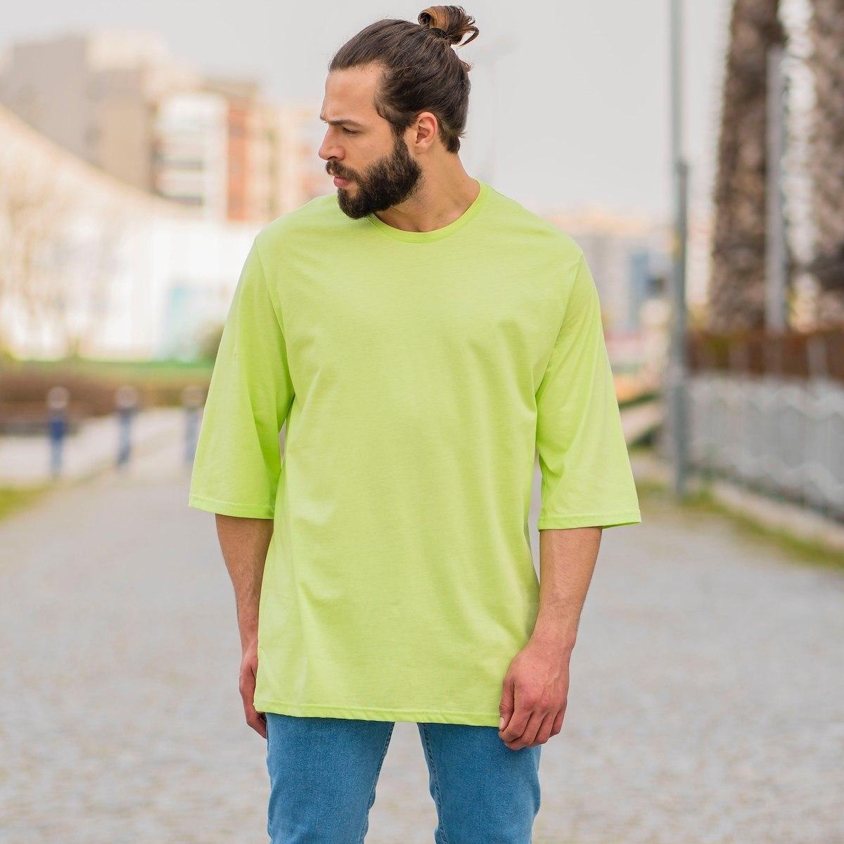 Men's Oversize Basic T-Shirt In Neon Green