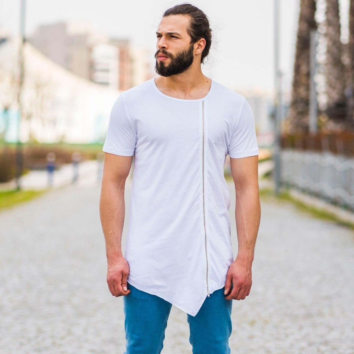 Men's Zipped Long Tailed T-Shirt In White