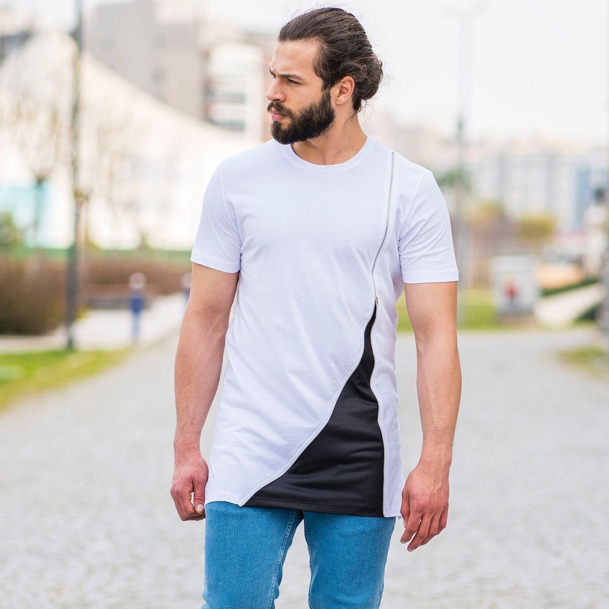 Men's Zipped Patchwork T-Shirt In White