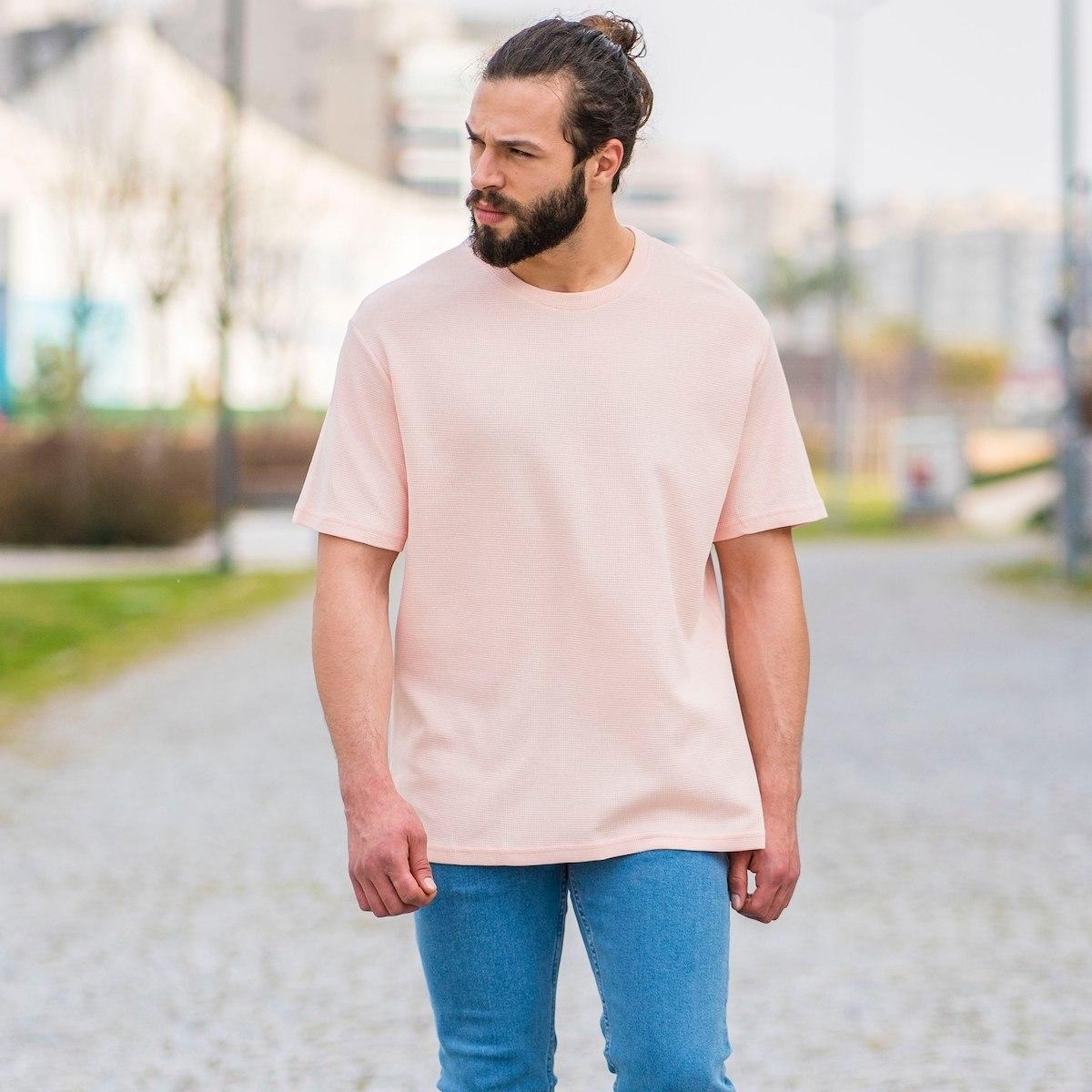 Men's Dotwork Oversize T-Shirt In Soft Pink