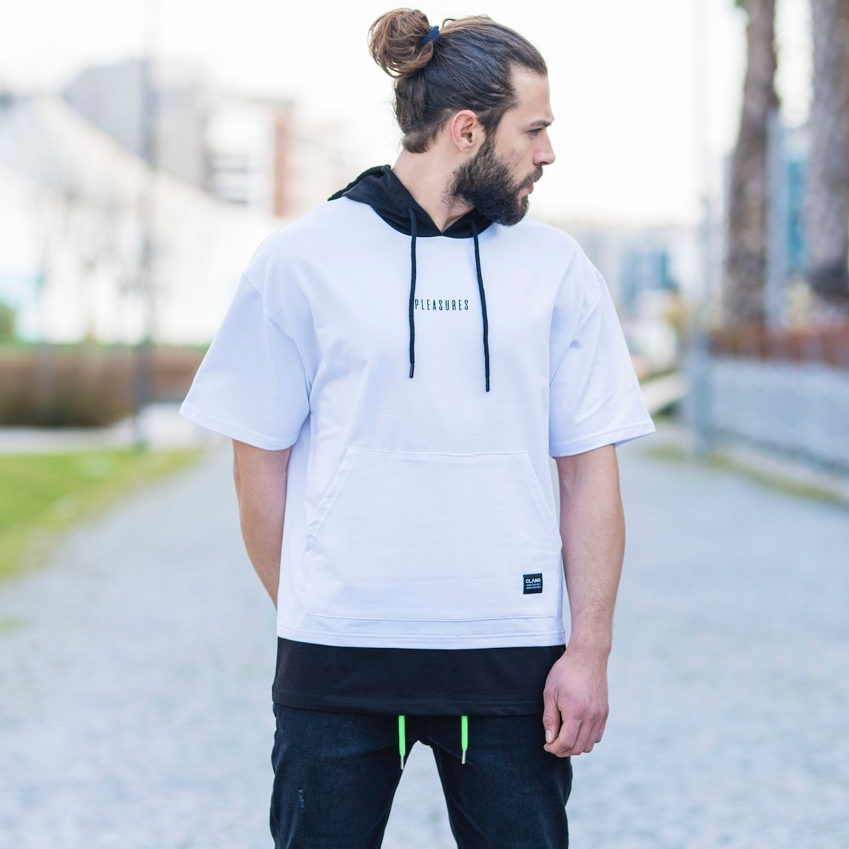 Men's Text Detailed Hoodie In White
