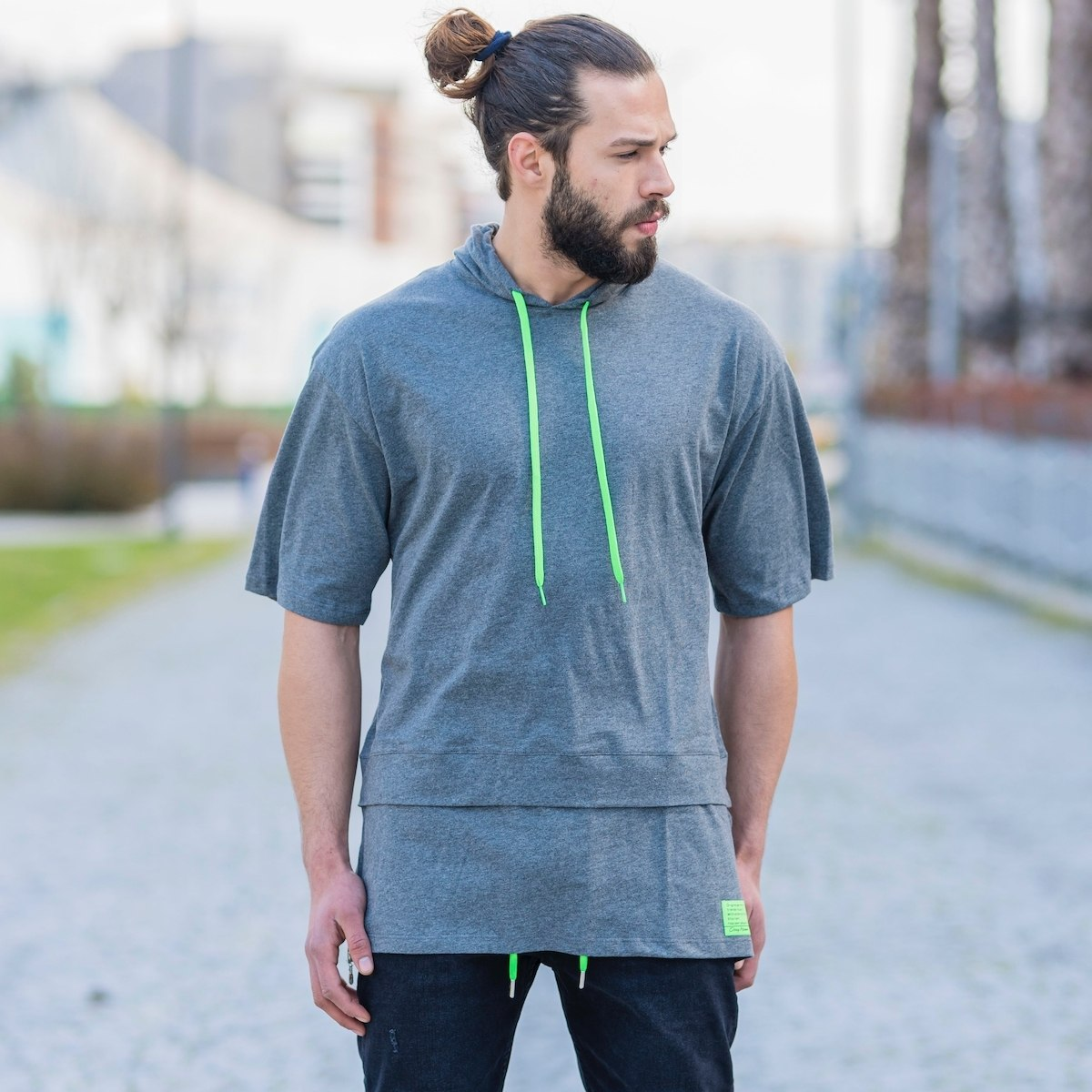 Men's Double-Tailed Hoodie In Neon-Gray