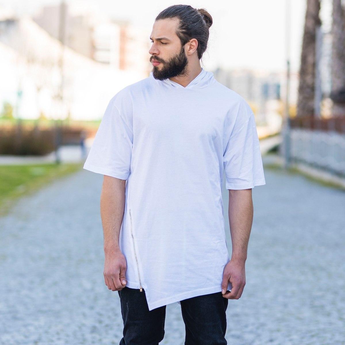 Men's Oversize Zipped T-Shirt In White