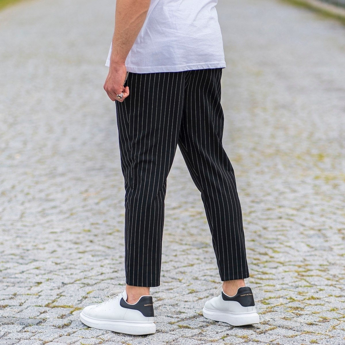 Stone Black Trousers With...