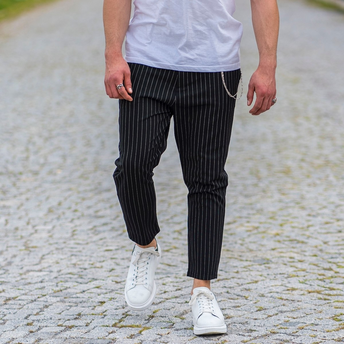 Stone Black Trousers With White Stripes and Chain