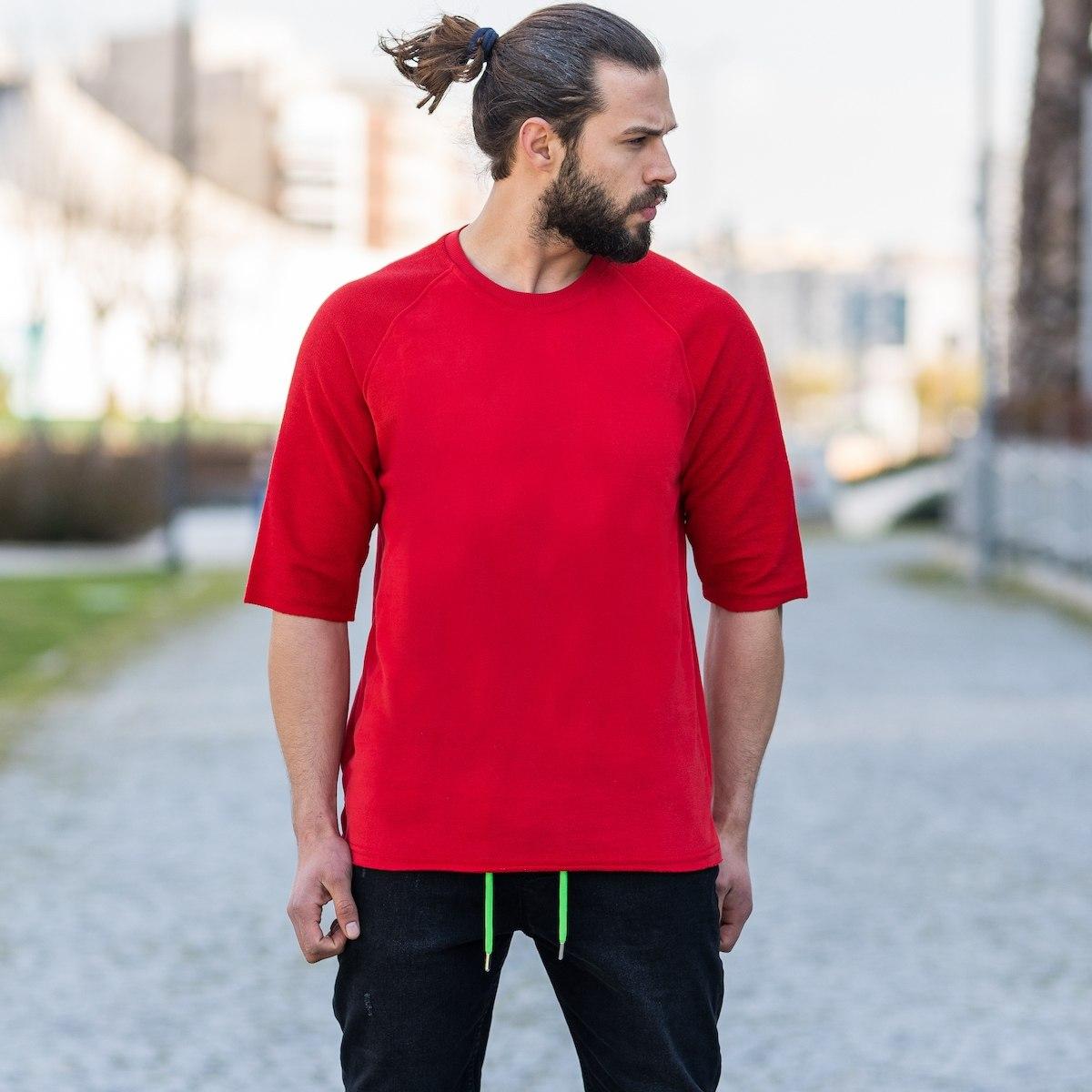 Half-Sleeved Sweatshirt In Red