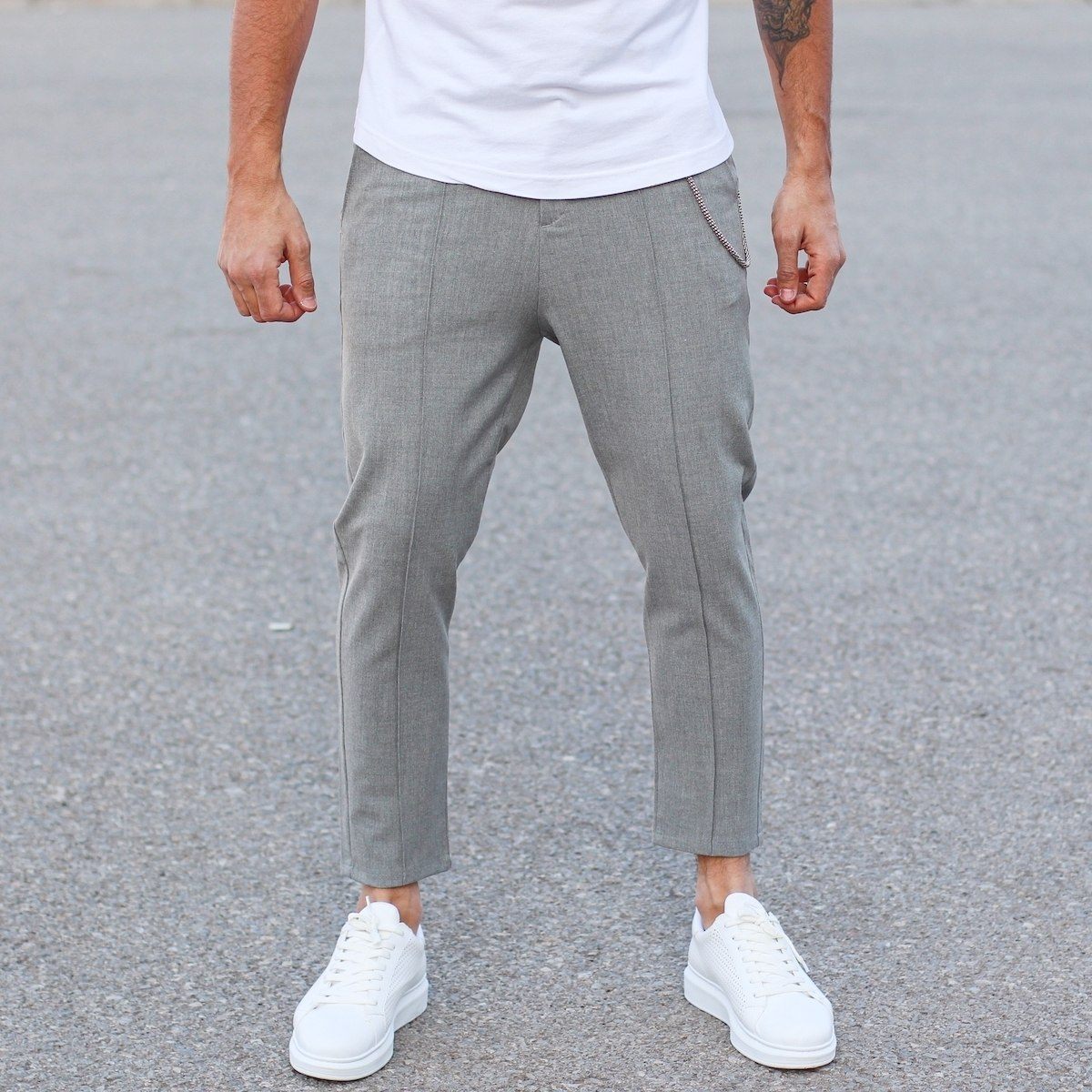 Front-Stitch Trouser In Gray