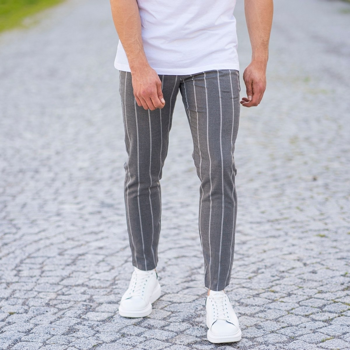 Men's Trousers In Gray With...