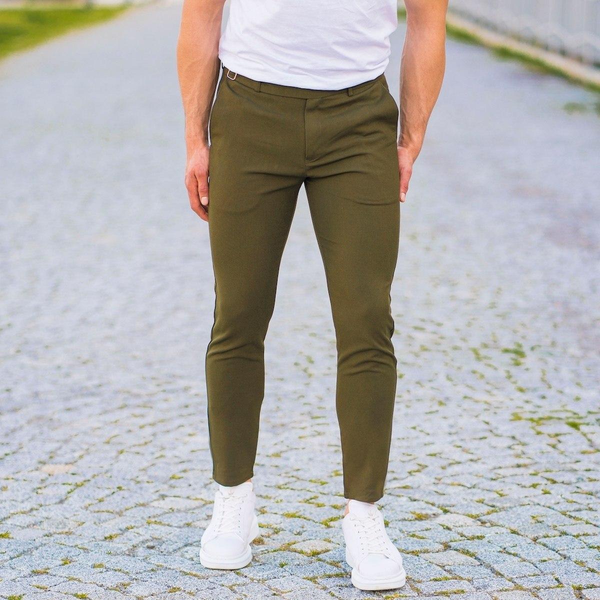 Herren Slim-Fit Hose in khaki