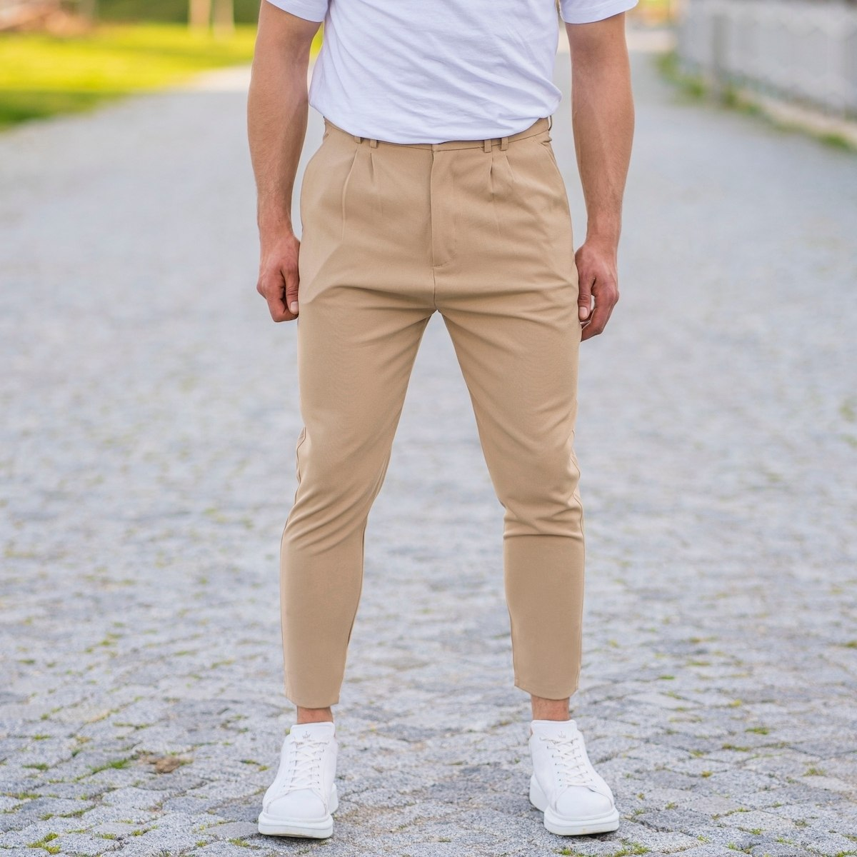 Cream Casual Slim-Fit...