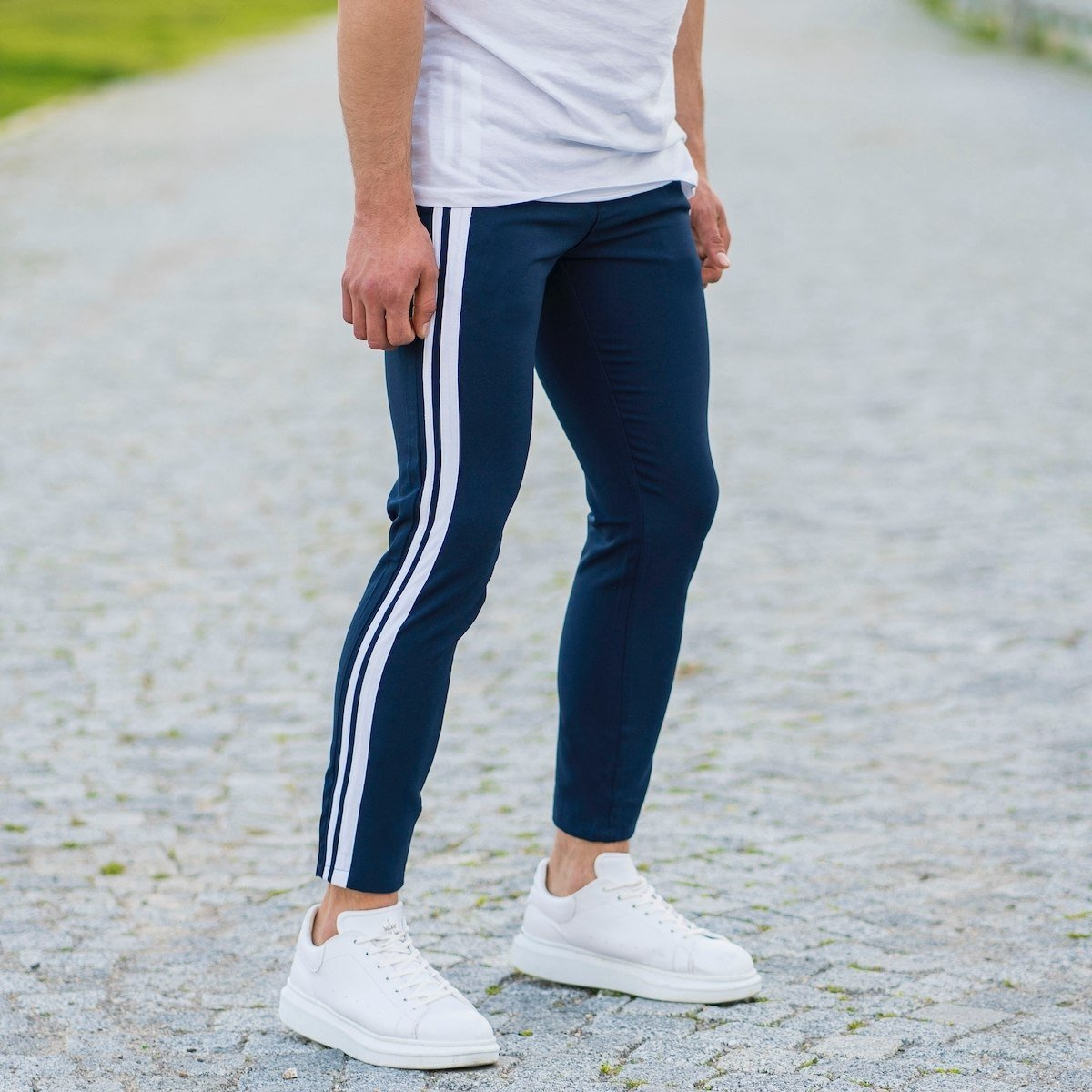 Trousers With Stripe Details In Navy Blue