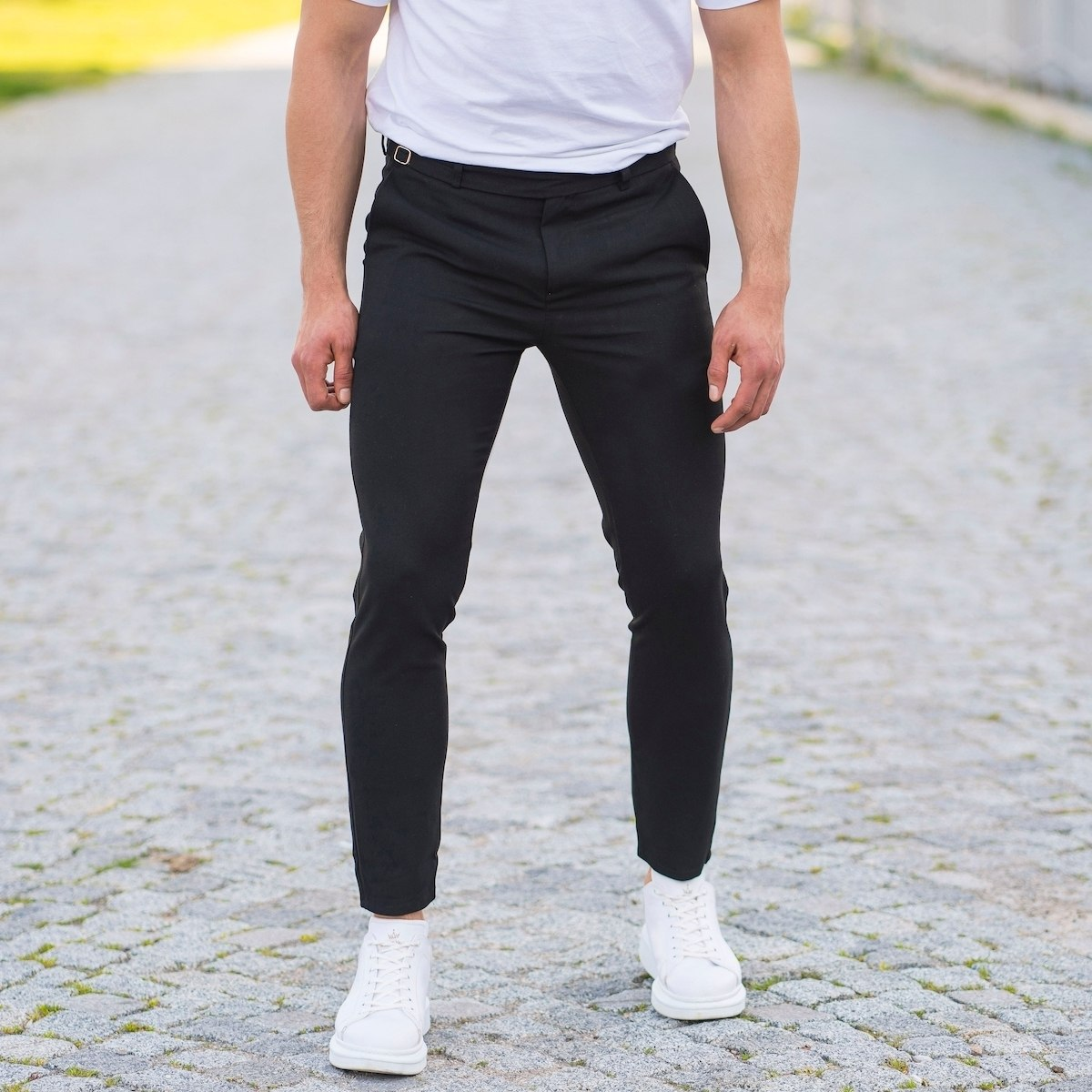 Black Casual Slim-Fit Trousers