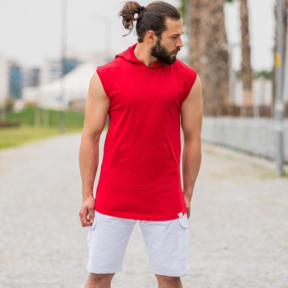 Men's Sleeveless Hoodie In Red
