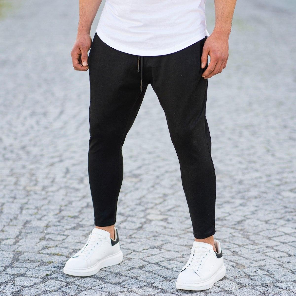 Men's Semi-Shalvar Cut Joggers In Black