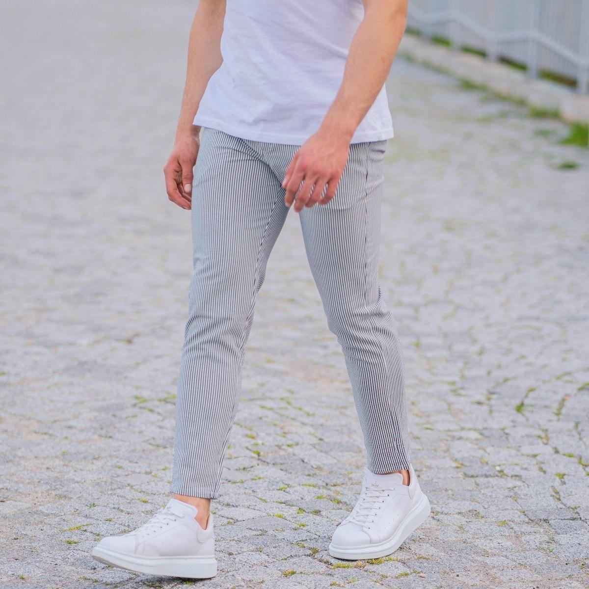 Men's Slim Fit Lycra Sport Pants With Thin Stripes White