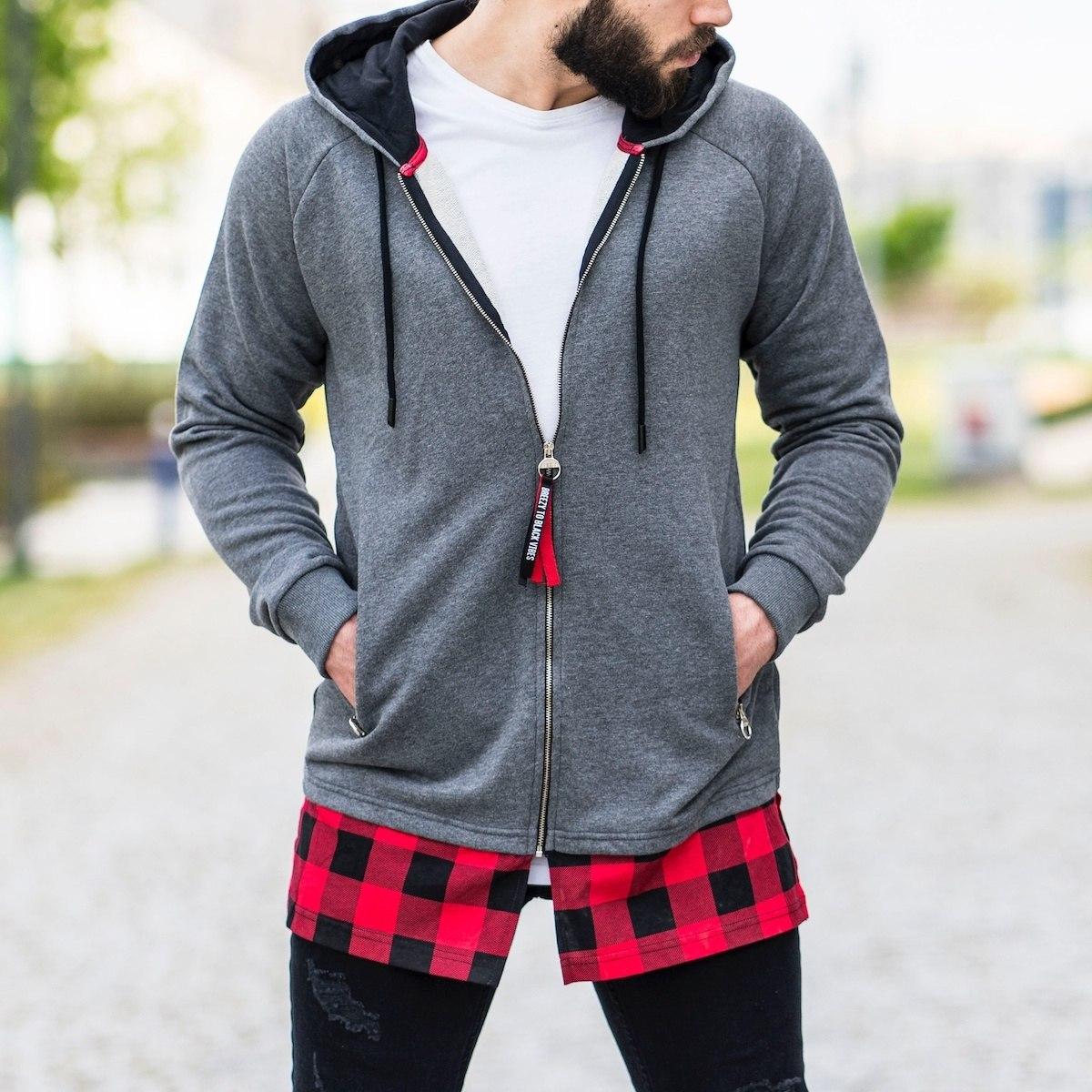 Red&Black Plaid Style Gray Hoodie