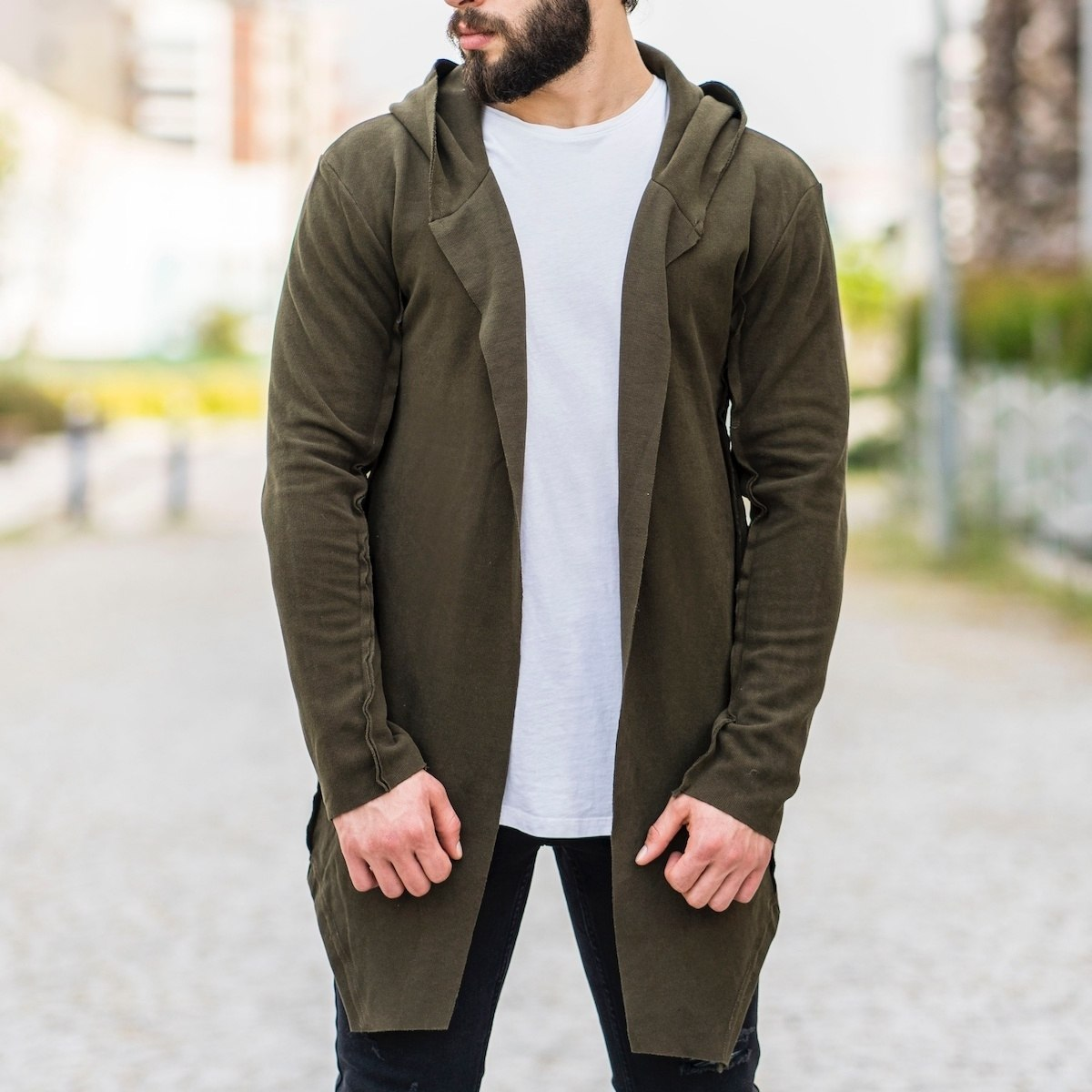 Khaki Reverse Stiched Cardigan