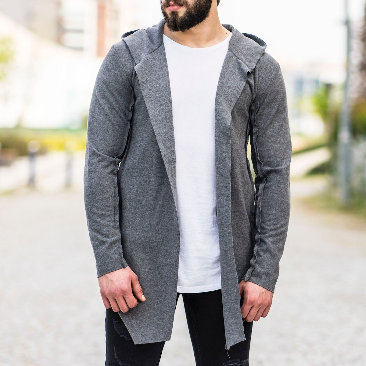 Reverse Stiched Gray Cardigan