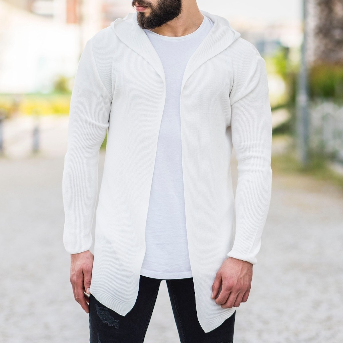 Hooded Style White Cardigan