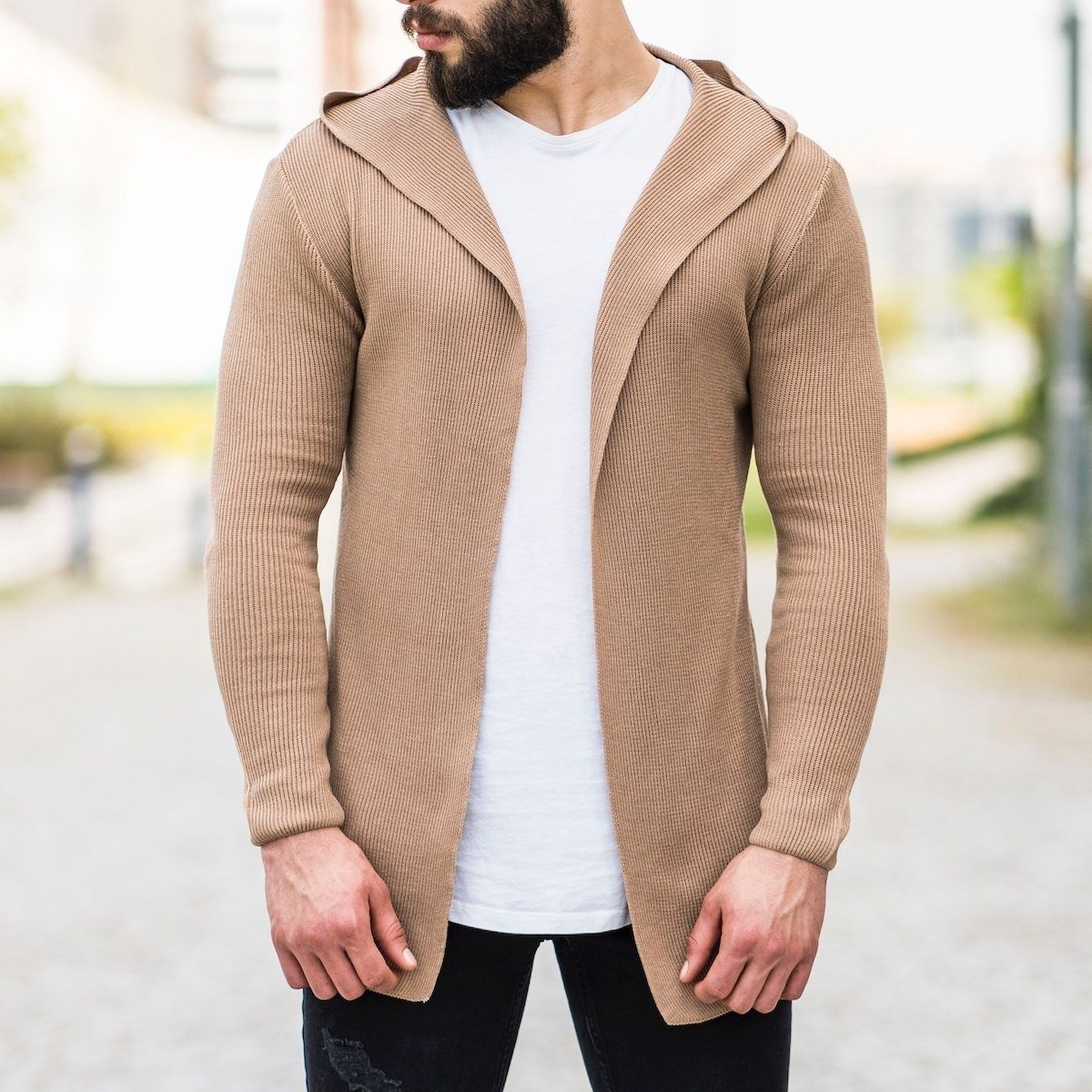 Hooded Style Camel Cardigan