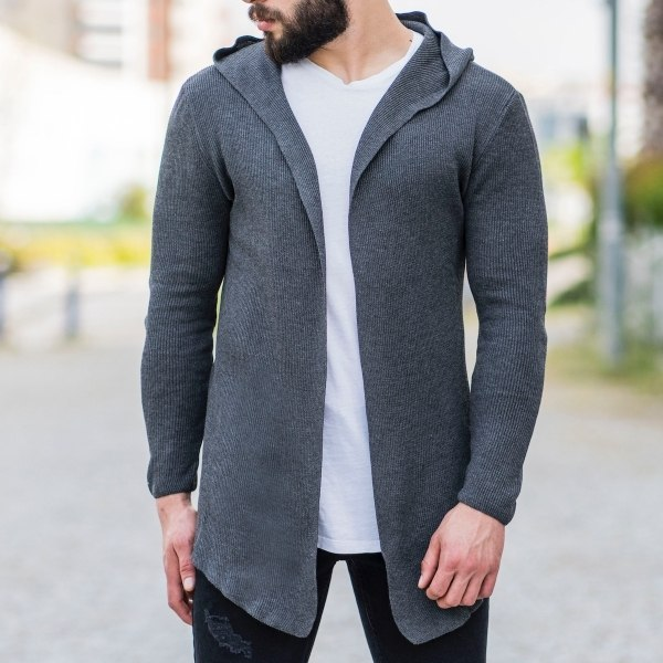Hooded Style Gray Cardigan