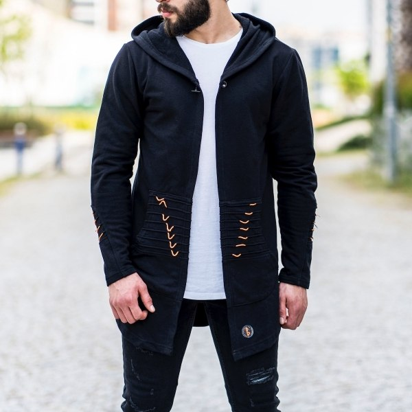 Single button Hoodie in Black