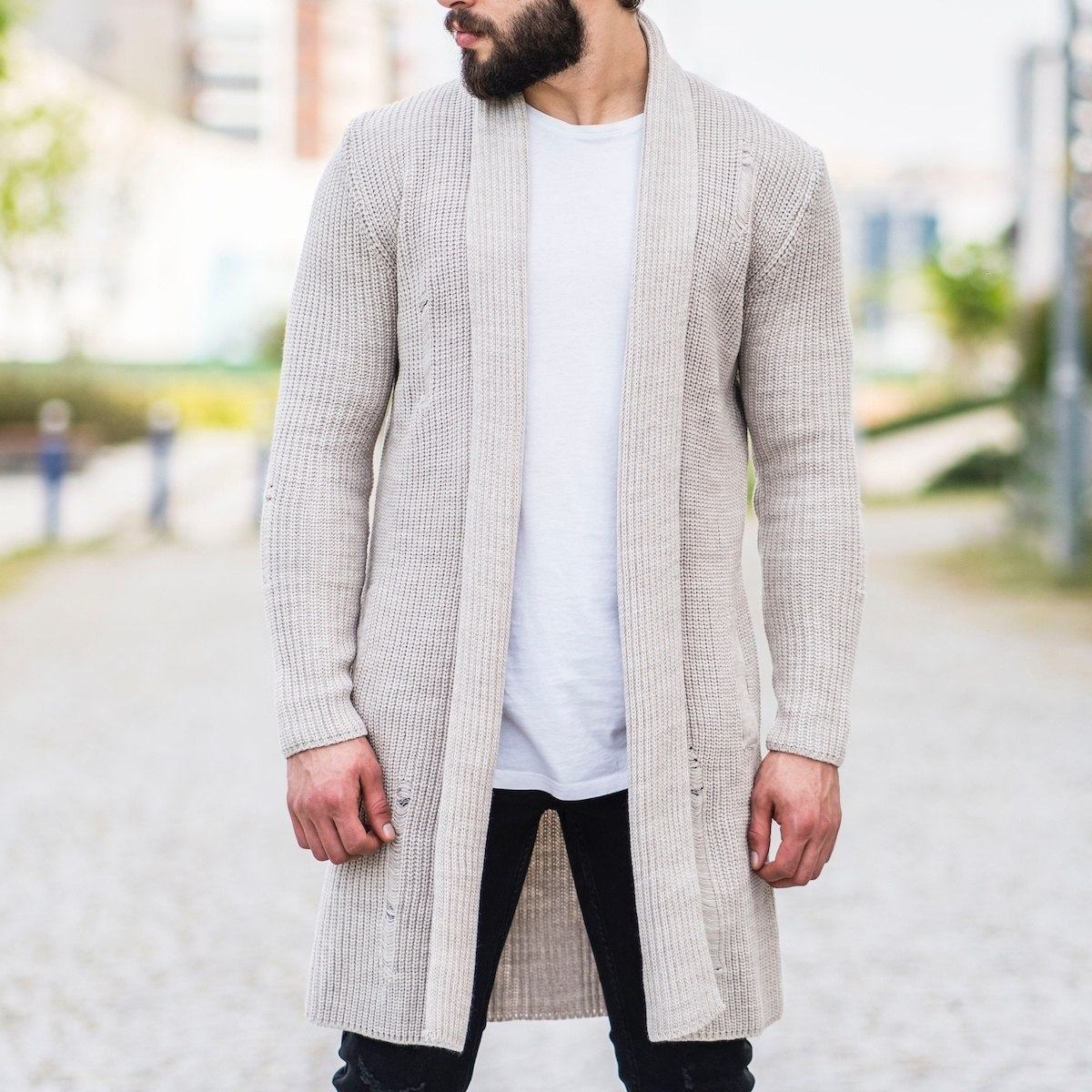 Men's Knitted-Ragged Cardigan In Beige