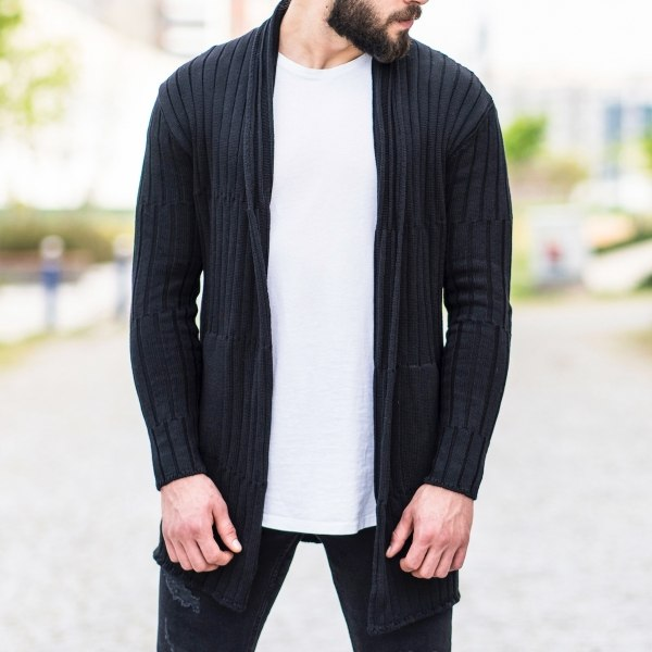 Stripe Detailed Black Cardigan