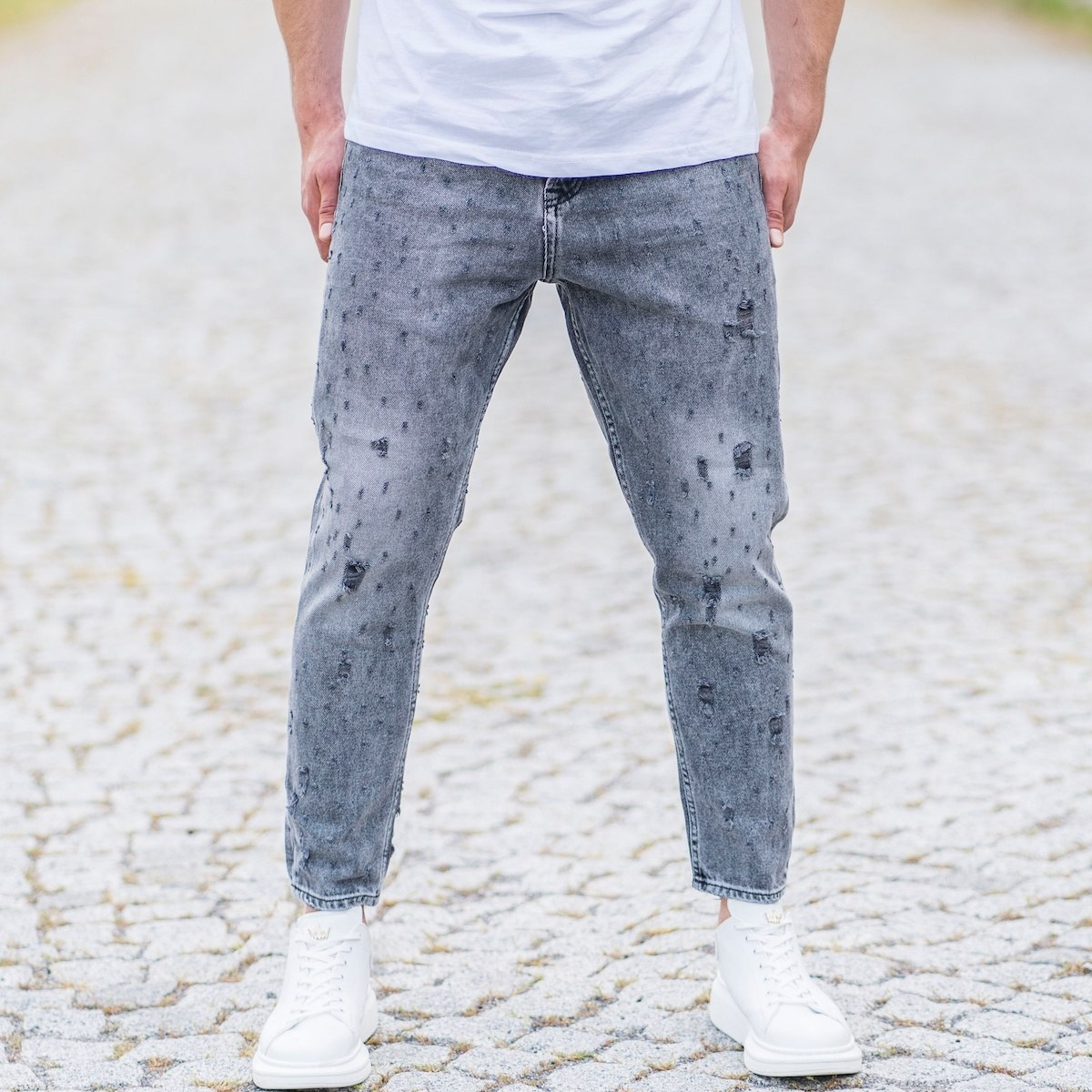 Men's Loose Fit Distorted Jeans In Gray