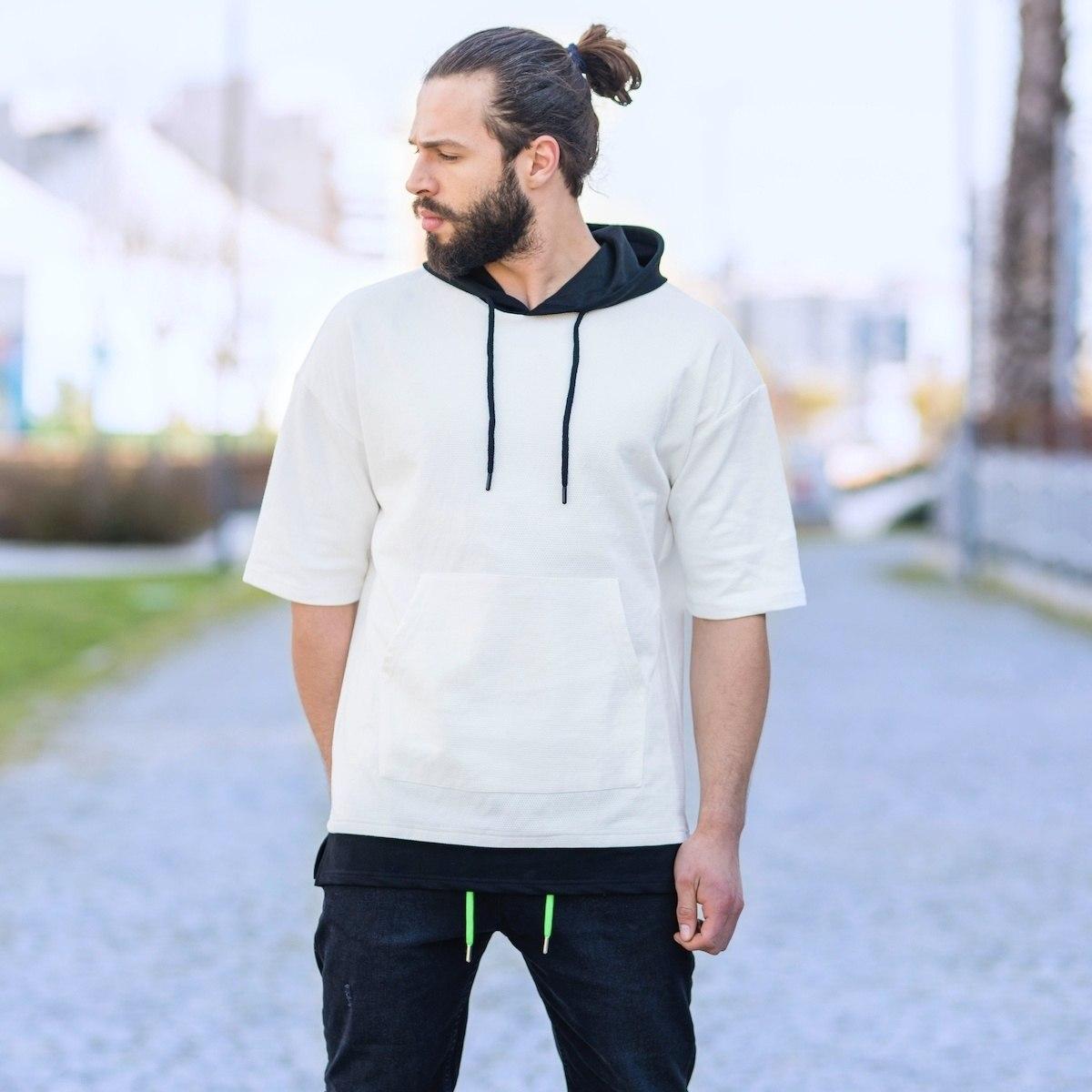Men's Double-Colored Half-Sleeved Hoodie In Black-White