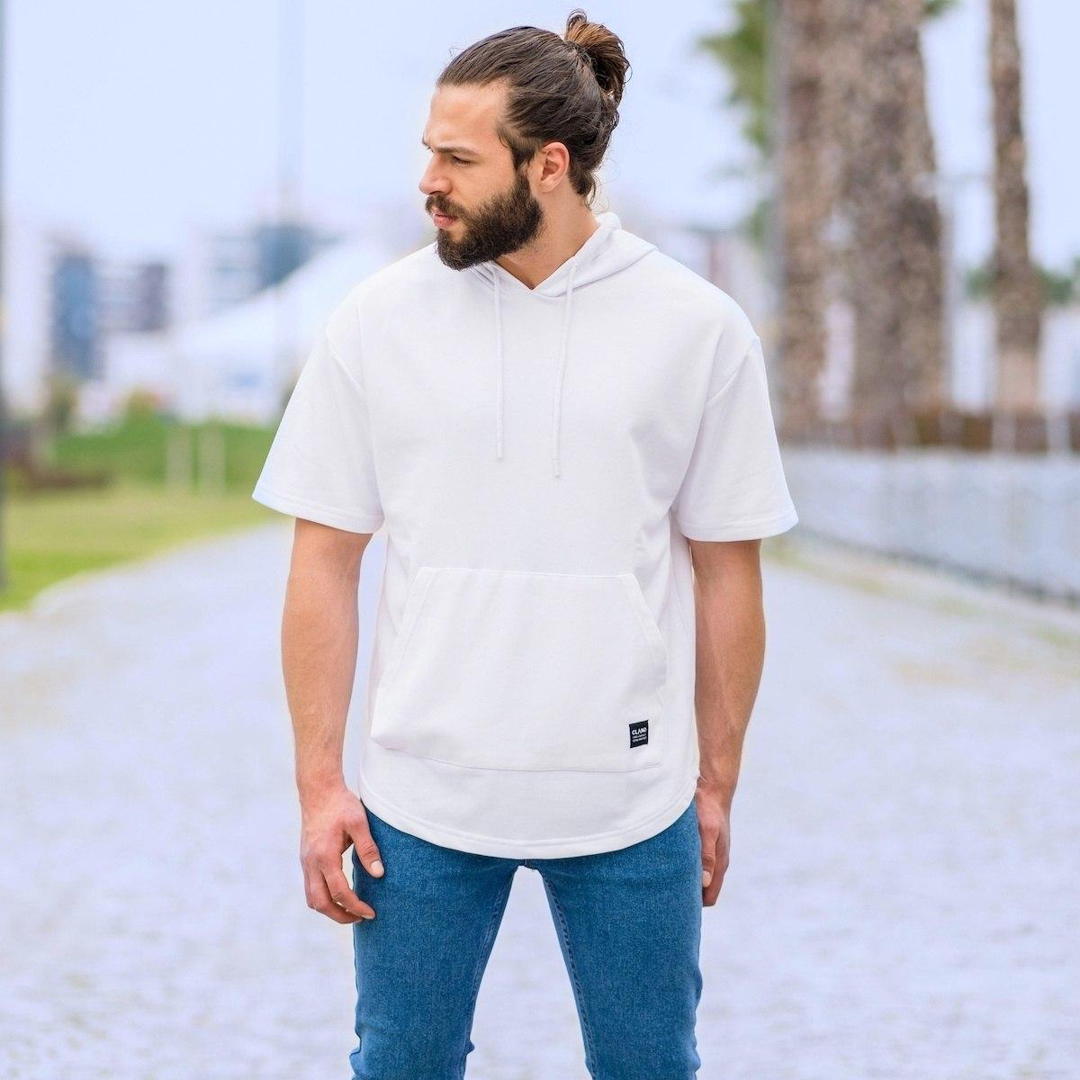 Men's Half-Sleeved Hoodie In White