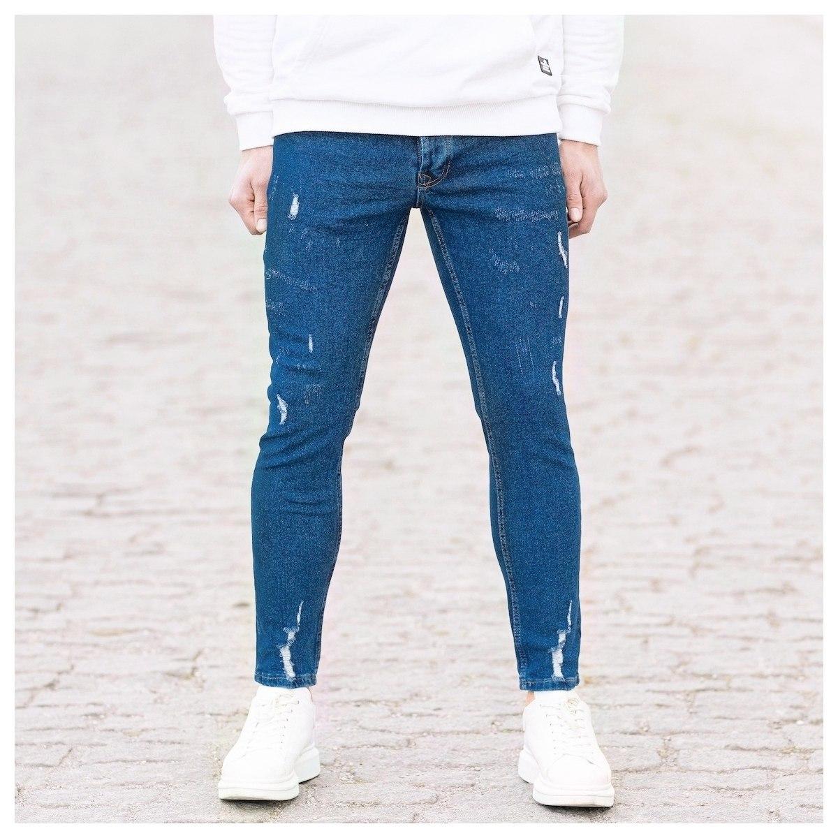 Men's Distorted Jeans In Navy Blue