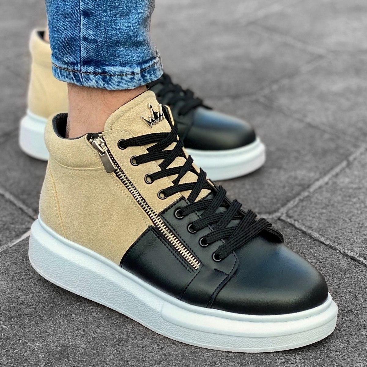 Homem Cano Alto Sneakers Designer Zip Basket Creme-Preto