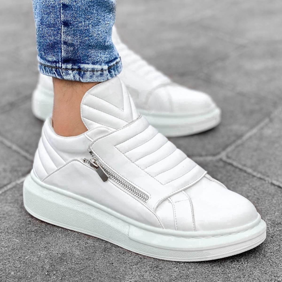 Homem Sola Alta Casual Designer Sneakers Basket Branco
