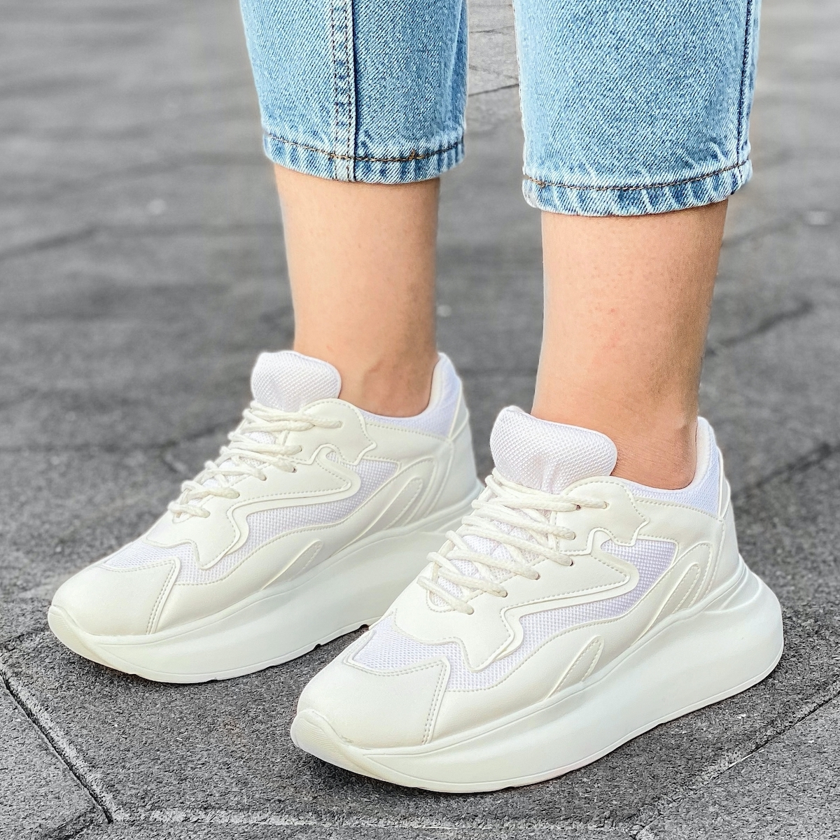Women's High Sole Sneakers In White