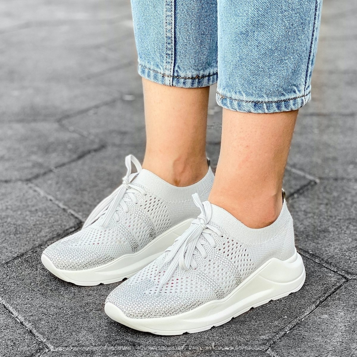 Women's Knitted Sneakers In...