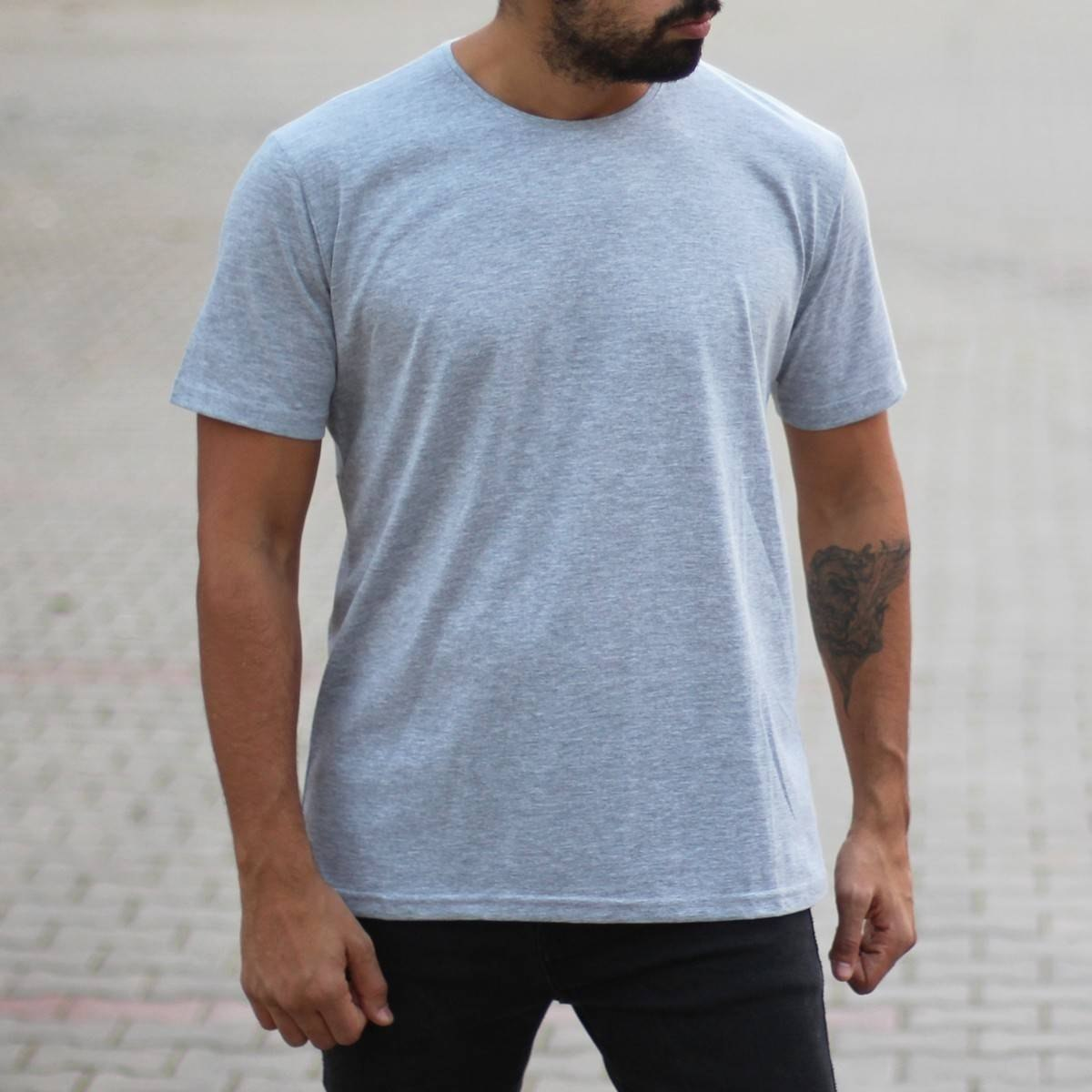 Men's Oversized Basic T-Shirt Gray Mv Premium Brand - 1